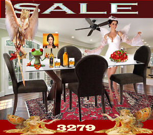 solid dining & dinette sets, glass top tables, arm chaise, 3279