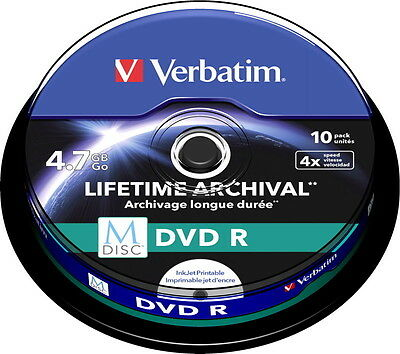 10 Verbatim Rohlinge M-Disc DVD full printable 4,7GB 4x Spindel