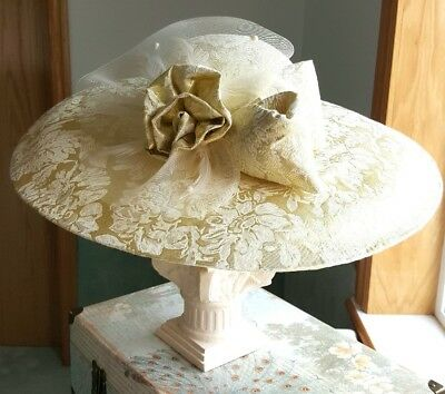 AsHro Wide Rim Silk Gold White Kentucky Derby Church Hat Womens Sz 7 1/8
