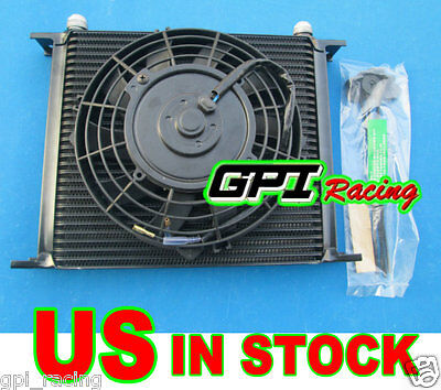"GPI Universal 30 Row Engine Transmission 10an Oil Cooler + 7"" Electric Fan Kits"