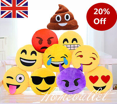 "Emoji Emoticon Round Cushion Poo Stuffed Soft 12"" Pillow Plush Xmas Gift HT"