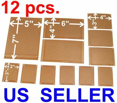 12pcs Kit Prototyping Pcb Printed Circuit Board Prototype Breadboard Perfboard
