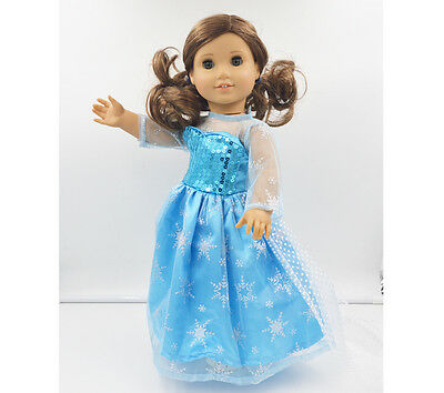 "2015 For American Girl Hot Handmade  Princess Blue  dress 18""Doll Clothes on Rummage"