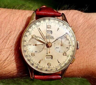 Angelus Chronodato Chronograph Cal 217 All Original Oversize38mm Recent Serviced