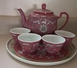 Vintage Chinese Famille Rose Porcelain Tea Set