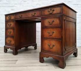 Regency Style Leather Bound Desk (DELIVERY AVAILABLE)