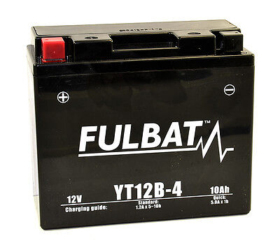 Batería Moto GEL YT12B-4 Fulbat. 12v. 10Ah. Activada y lista para montar