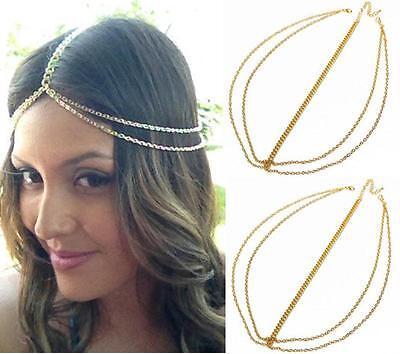 Boho Style Gold Crown Tassel Head Chain Headband Jewelry Headpiece Hair Band