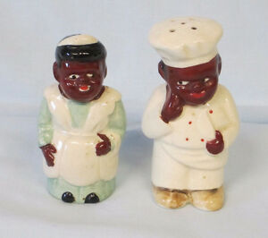 BLACK AMERICANA CHEF AND MAID SALT AND PEPPER SHAKERS