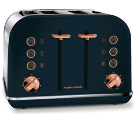 MORPHY RICHARDS Accents 242039 4-Slice Toaster Midnight Blue & Rose Go