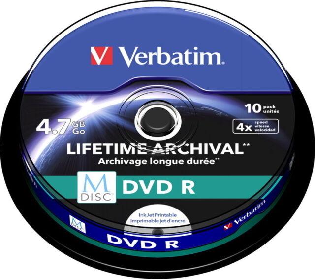 50 Verbatim Rohlinge M-Disc DVD full printable 4,7GB 4x Spindel