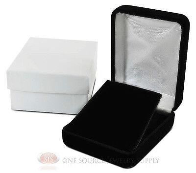 Black Velvet Pendant Earring Metal Jewelry Gift Box 2 14w X 3d X 1 14h