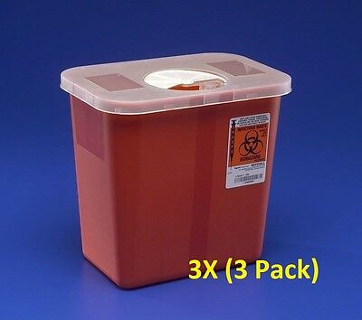 Sharps Disposable Biohazard Container 2 Gallon Red 8970 - 3pack