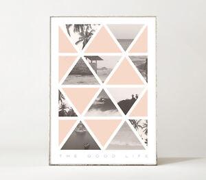 THE GOOD LIFE Kunstdruck / Poster / Palme / Strand / Surfen Reisen / geometrisch