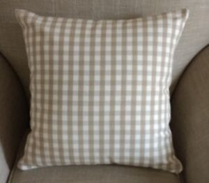 REVERSIBLE Laura Ashley Natural/Dark Linen Gingham Check Fabric Cushion Cover