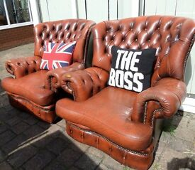 Stunning Chesterfield Vintage Spoon High Back Chairs in Tan Brown Leather UK Delivery