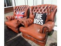 Stunning Chesterfield Pair of Vintage Spoon High Back Chairs in Tan Brown Leather UK Delivery