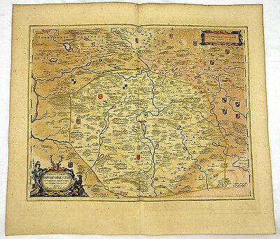 NEUENMARKT NÜRNBERG BAYERN ALTKOL KUPFER KARTE GOLDHÖHUNG BLAEU 1662 #D936S