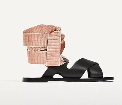 New ZARA Basic Women Black Leather Slide Sandal Changeable Strap Size:38