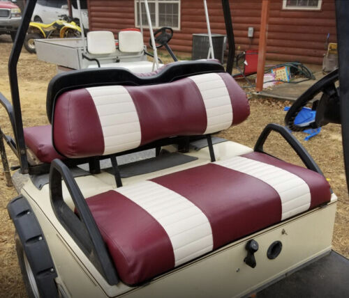 Club Car DS 2 Stripe Staple On (FRONT+REAR COMBO) Golf Cart Seat Cover