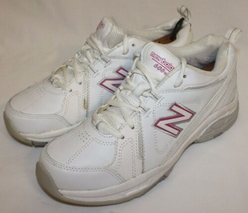 New Balance Womens Ladies 608 White Pink Walking Sneakers Shoes Wide Size 9W