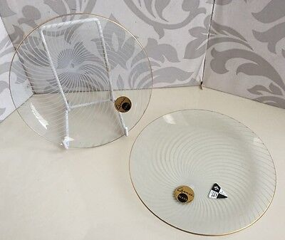 Vintage Pair of 1950's Margaret Casson Swirl Chance Glass Plates Design Centre