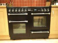 Free RANGEMASTER Kitchener 110 Dual Fuel Range Cooker - Black & Chrome