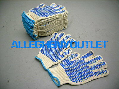 36 Pair Cotton Work Gloves M L W Double Side Pvc Dot Industrial Warehouse New