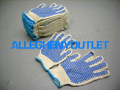 - 36 Pair Cotton Work Gloves M, L w/ Double Side PVC Dot Industrial Warehouse NEW
