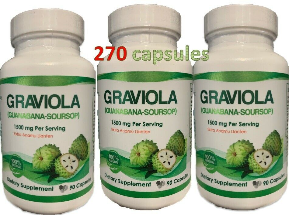 Graviola 1500mg 270 Capsules Guanabana / Soursop High Potency Big HUGE the best
