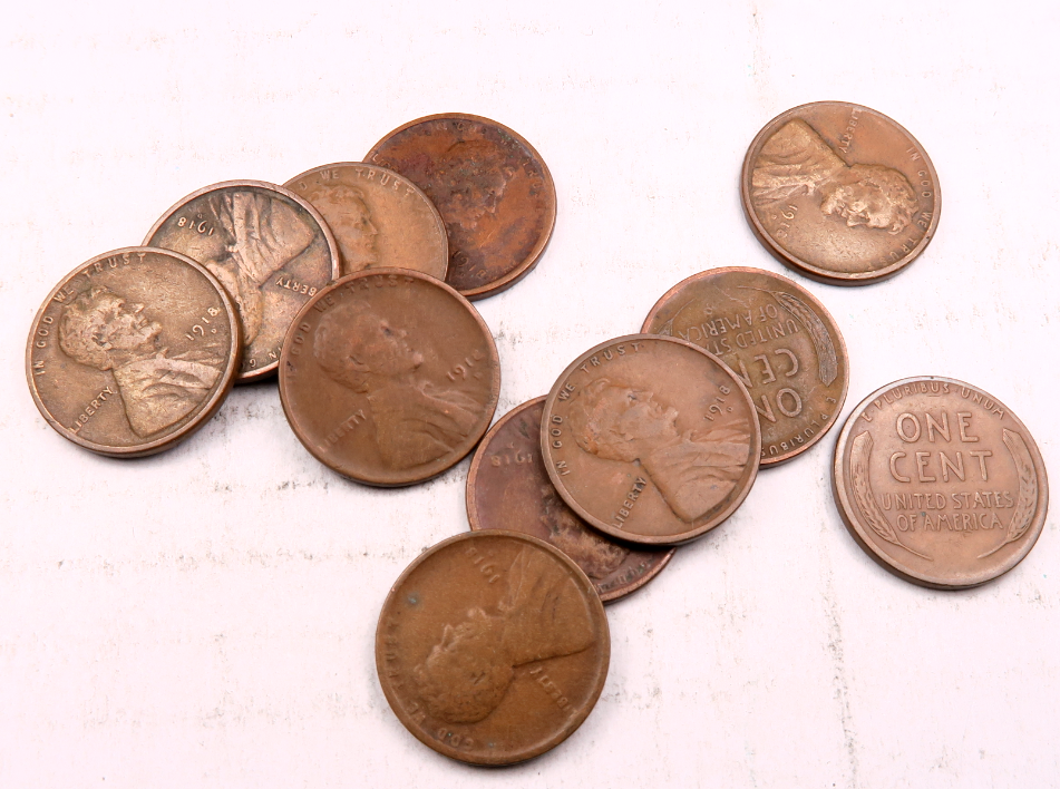 11 1918-D Lincoln Wheat Penny Cent Lot-Set // VF // WL43  - $39.98