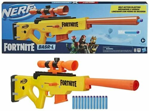 NERF Fortnite BASR-L Bolt Action, Clip Fed Blaster, Removable Scope Gun NEW NIB