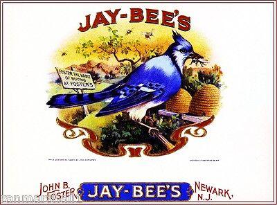 Jay-Bee's Blue Jay Bird & Bees Smoke Vintage Cigar Box Crate Inner Label Print