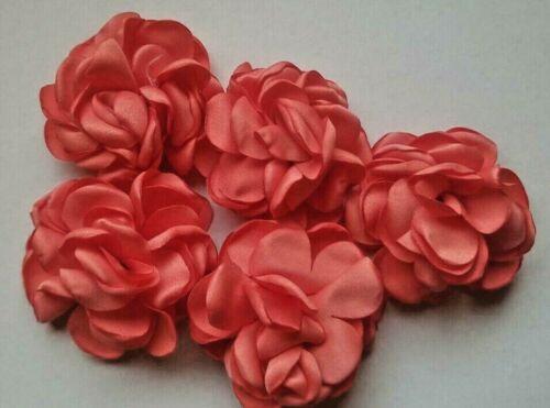 CraftbuddyUS 10 pieces Coral Stick on,Sew On Fabric Flowers, crafting, DIY