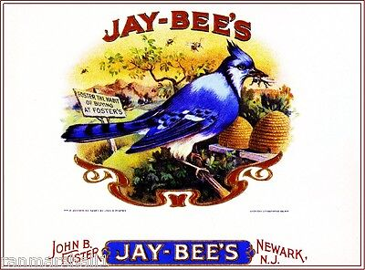 Jay-Bee's Blue Jay Bird & Bees Smoke Vintage Cigar Box Crate Inner Label Print