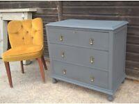 Stunning Vintage Oak Chest of Drawers *FREE DELIVERY* Lars Contzen Designer Palette Grey (not pine)