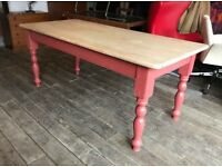 Large Pine Dining Table With Painted Base