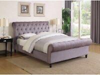 BRAND NEW GREY PLUSH VELVET SLEIGH FRAME BED WITH OTTOMAN GASLIFT STORAGE