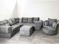 BRAND NEW VERONA Chesterfield Corner Sofa In Grey With Cushions ORDERS NOW👌🏻