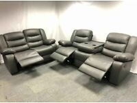 � BEAUTIFUL Excellent CHICAGO GREY RECLINER 3+2 SOFA � Grand Sale Offer With 1year Warranty
