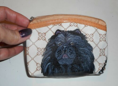 Black Chow Chow dog Hand Painted Coin Purse Vegan Leather