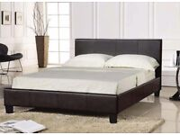 """4FT 6"""" BLACK FAUX LEATHER BED -NEVER BEEN ASSEMBLED"""