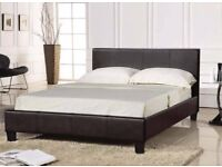 🌷💚🌷SUPREME QUALITY 🌷💚🌷DOUBLE LEATHER BED & SMALL DOUBLE BED - WITH 9INCH DEEP QUILTED MATTRESS