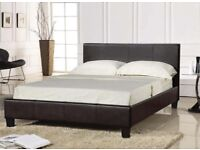 ⭕🛑TOP SELLING BRAND⭕🛑 BRAND NEW DOUBLE KING SIZE LEATHER BEDS WITH MEMORY FOAM MATTRESS