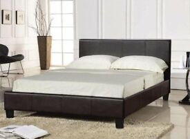 Brown PU leather Kingsize Bed & Mattress