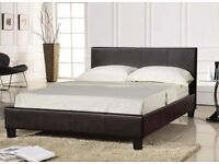 LIMITED OFFER - BRAND NEW DOUBLE LEATHER BED WITH ORTHOPEDIC MATTRESS