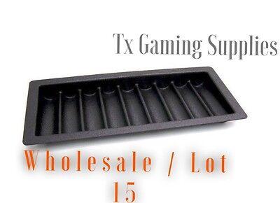 Wholesale Lot 15 Poker / Blackjack Casino Black Table Chip Tray / Holds 450 Casino Table Chip Tray