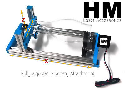 Hm V2.1 Fully Xyz Adjustable Laser Rotary Attachment For K40 Engraver Larger