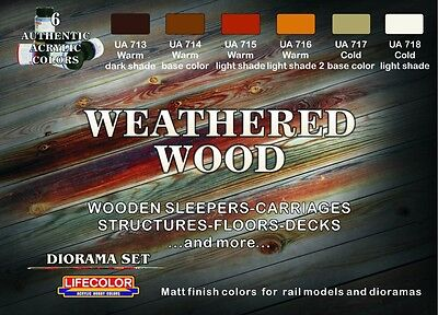 Lifecolor Acrylics LC-CS20 Weathered Wood paint set 4 Ship/Railway/Military mdls