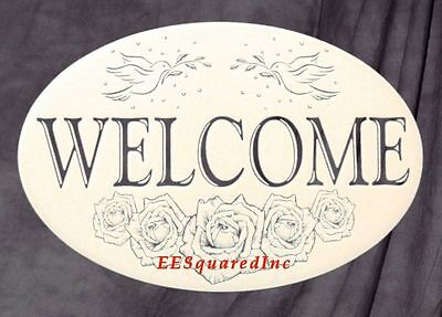 Welcome Sign OVAL Static Cling Window Decal 16x10 Decor for Glass Doors